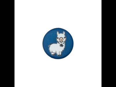 Knopf mit Öse 15mm - Lama - dunkles blau