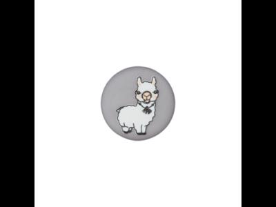 Knopf mit Öse 15mm - Lama - grau