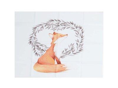 Webware Baumwolle PANEL 48 cm x 48 cm - Fuchs im Blumenkranz