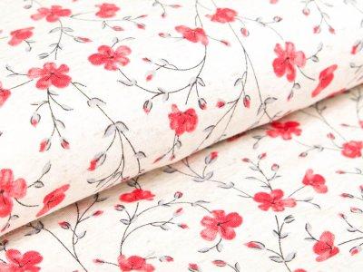 Viskose-Leinen - Blumenzweige - meliert beige/rot