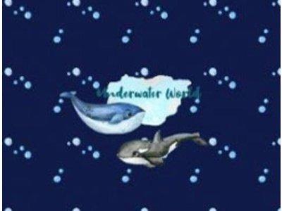 Jersey Digitaldruck Stenzo PANEL ca. 75 x 150cm - Fische, Wale und Oktopus - dunkelblau