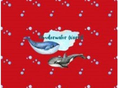 Jersey Digitaldruck Stenzo PANEL ca. 75 x 150cm - Fische, Wale und Oktopus - rot