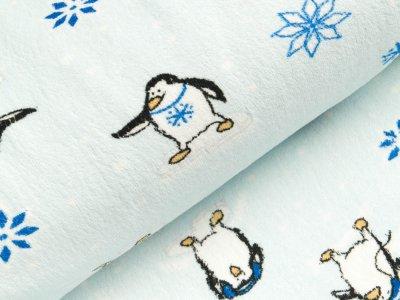 Wellnessfleece - Pinguine auf Eisschollen - helles blau