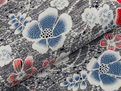Viskose-Jersey - verschiedene Blüten - schraffiert grau