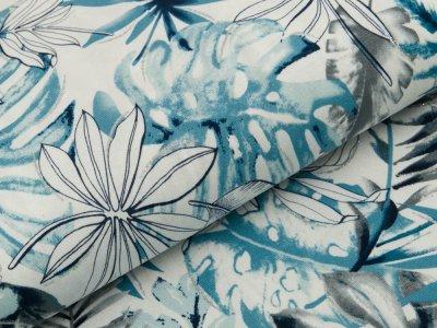 Viskose-Jersey mit Glitzer - Monsterablätter - weiß/jeansblau