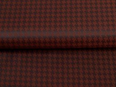 Jacquard Futterstoff - Hahnentritt-Muster - cognac