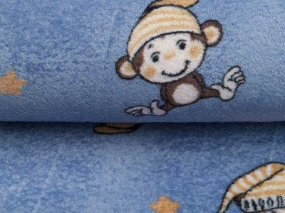Wellnessfleece - kleine Äffchen mit Schlafmütze - jeansblau