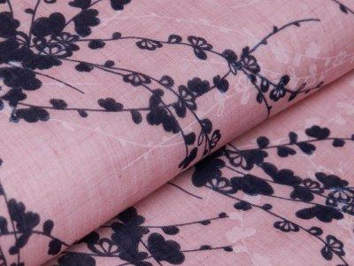 Webware Baumwolle Voile - Blumenzweige - rosa