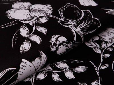 Webware Baumwollsatin - Blumen - schwarz