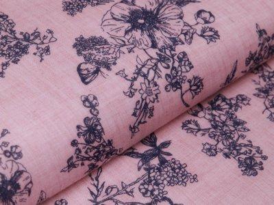 Webware Baumwolle Voile - Blumenranken - rosa